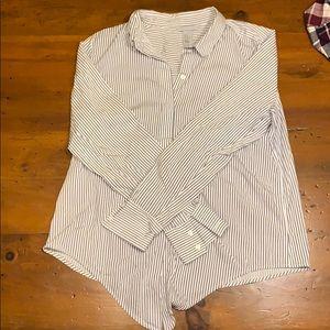 Striped button-down dress shirt